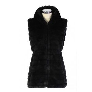 NWT faux fur quilted vest with hoodie